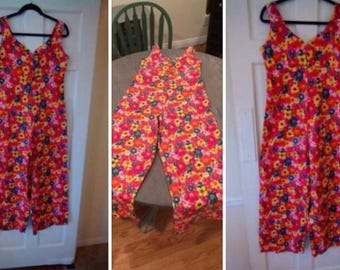 VINTAGE 1960's womens jumpsuit bellbottom pants Med-Lg FLORAL hippie neon