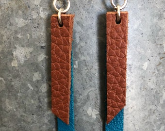 Classic Brown and Turquoise Soft Leather Bar Earrings