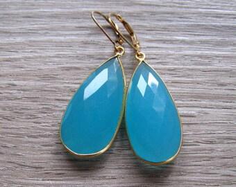 Aqua Chalcedony Earrings, Long Dangle Earrings, 24K Gold Vermeil Bezel Set Blue Stone, Faceted Teardrop, Chalcedony Jewelry