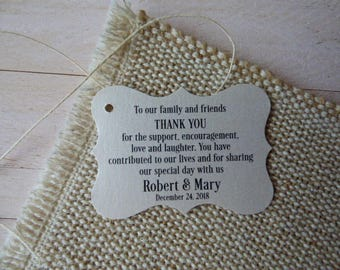 Pearlized Thank you Wedding Tag. Custom Wedding Favor Tags- Destination Wedding Tags - Personalized Tag - Favor Tag. Set of 25 to 300 pieces