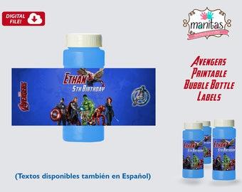Avengers Printable Bubble Bottle Label, Personalized Bubble Bottle Label, Avengers Party, Avengers Birthday, Avengers Favors, Avengers