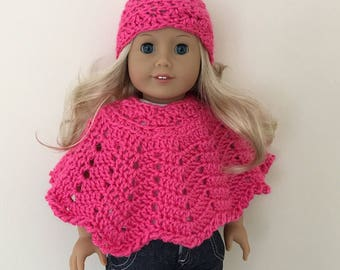 18 inch doll hat & poncho set (will fit American girl doll), doll clothes, doll hat, doll poncho, American Girl, Gotz Precious Day