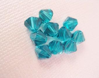 6mm Blue Zircon Swarovski Crystal Bicone Beads (Package of 12 beads) December Birthstone