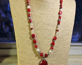 Red coral necklace, white coral necklace, coral necklace, red necklace, beaded necklace