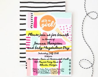 Girl Baby Shower Invitation Hand Drawn Painted Watercolor Baby Sprinkle Birthday Party Invite Abstract Pink Peach Coral Modern / Set of 10