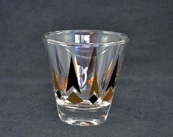 Vintage Mid Century Modern Shot Glass, Black And Gold Geometric Bar Glass