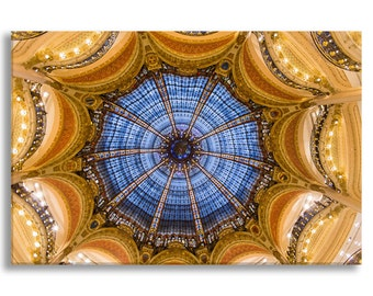 Paris Photograph on Canvas - Galeries Lafayette Interior,  Gallery Wrapped Canvas, Architecture Photograph, Urban Decor, Large Wall Art