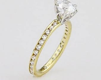 14K Yellow & White Gold CZ Eternal Love Eternity Solitaire Ring Size 7.25