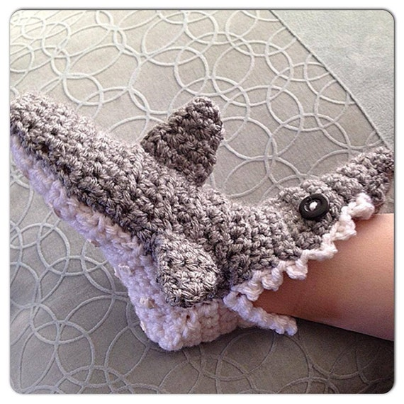 Crochet baby shark slipper socks with teeth and fins made to dt1010fo