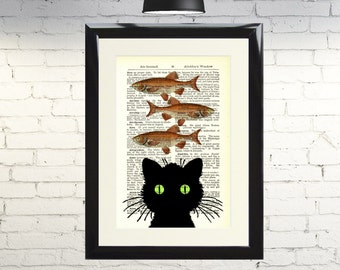 Dictionary Art Print Black Cat and Fish food Dreams Framed Vintage Poster Picture Handmade Original Artwork Book Page