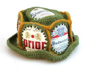 Crocheted Beer Label Hat//Knitted Hat//Beer Can Hat