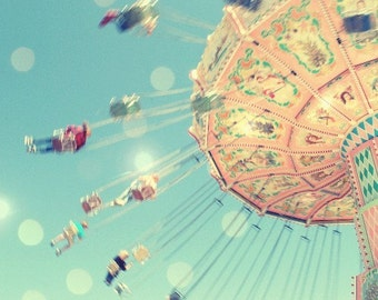 """Carnival Ride Photography, Baby Room Decor, Pink Blue, Pastel Nursery Wall Art 8x8 20x20 """"Take a Chance"""""""