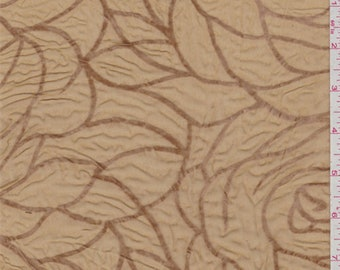 Gold Floral Flocked Chiffon, Fabric By The Yard