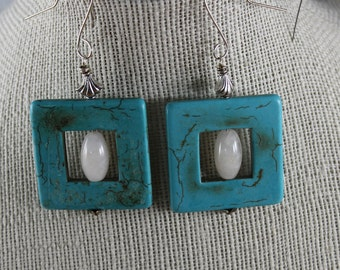 Square Magnesite Earrings