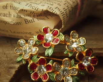 Floral wreath brooch pin, antique styled vintage costume jewelry look, fine unique jewellery #5055