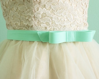 mint bow belt - bow belt - cotton fabric belt -  seafoam green - mint belt - custom SIZES and COLORS available
