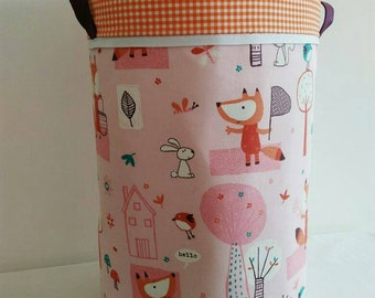 """Large basket for storage or laundry """"Fox and friends"""" basket approximately 50 x 30 cm"""