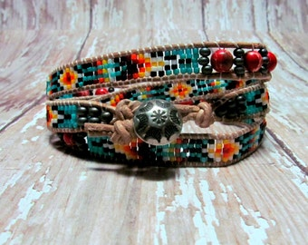 Southwest Wrap Bracelet, Beadwoven Bracelet, Beaded Bracelet, Indian Bracelet, Jasper Bracelet, Southwest Jewelry, Turquoise Bracelet