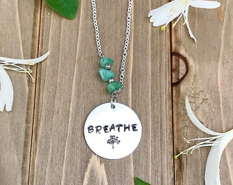 Breathe hand stamped necklace with green aventurine chips
