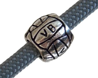 Volleyball VB Bead - Paracord Beads 5mm Hole great for Parachute Cord Braiding Projects - Cute Metal Charms