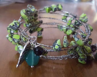 Turning over a new leaf Wrapped Wire bracelet