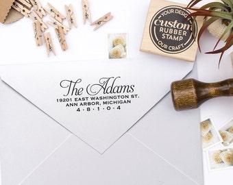 "Return Address Stamp, Rubber Address Stamp, Housewarming Gift, DIYer Gift, Wedding Gift. Script Address Stamp 3"" x 1"" - A10"