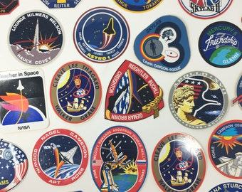 25 Assorted NASA Space Mission Seal Crew Vinyl Decals Stickers Vintage NEW NOS