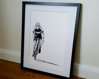 Cycling print, Cyclist, Bicycle art, Cycling poster, cycling gift - A4 and A3 print