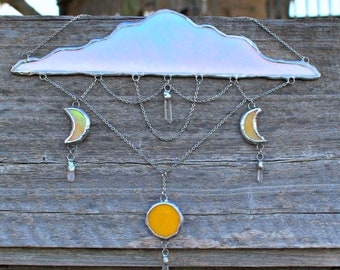 Dreamy cloud and moon, macramé , stained glass, wall decor, gifts for her, room decor , nursery decor