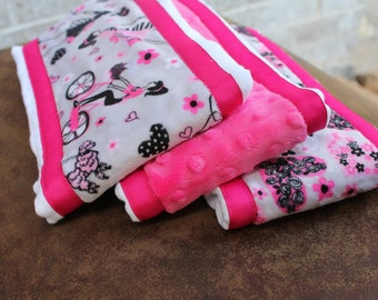 Set of 3 Matching Burp Cloths with Paris Girl Print Minky and Coordinating Heart Minky with Ribbon Edging and Hot Pink Dimple Dot Minky
