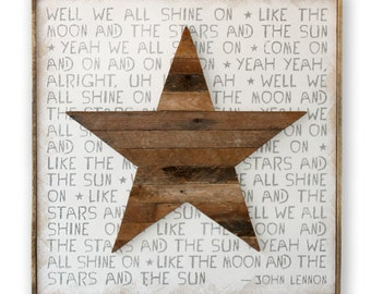 We All Shine On John Lennon Fathers Day Gift Instant Karma Rustic Wood Star Hippie Framed Wooden Print Wall Decor
