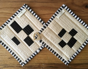 Quilted Pot Holder, Organic Cotton, Trivet, Mug Rug, Hostess Gifts, Housewarming Gifts, Ready to Ship, Set of Two