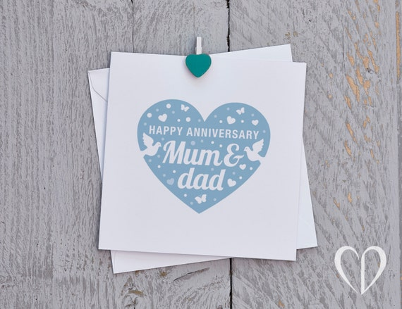 Anniversary cards to mom and dad ~ Happy anniversary mum and dad card blue parents anniversary