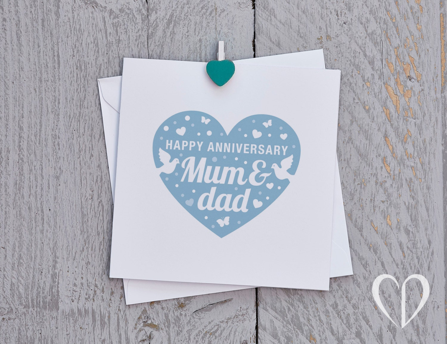 Happy anniversary mum and dad card blue parents anniversary zoom kristyandbryce Choice Image