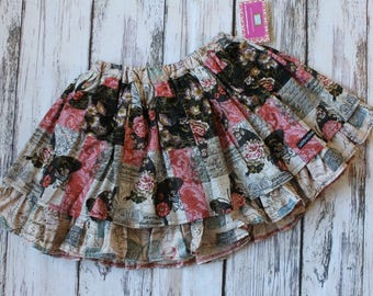 Valentine's Day Vintage Butterfly Twirl Skirt made from Create Kids Couture Pattern, Girl's pink floral skirt, size 7/8