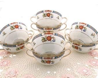 Antique Noritake Nippon Cream Soup Bowls Floral Pattern Fine Bone China Set of 8 1912 Double Handles Mint Condition
