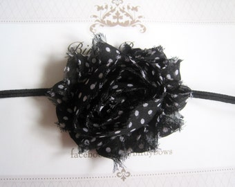 Black with White Polka Dots Headband, Baby Headbands, Newborn Headbands, Infant Headbands, Baby Girl Bow, Infant Hair Bow,