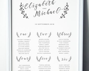 Printable Wedding Seating Table Chart, Wedding Stationery, Wedding Signs, Customisable Size, Color and Number of Tables, Modern Script