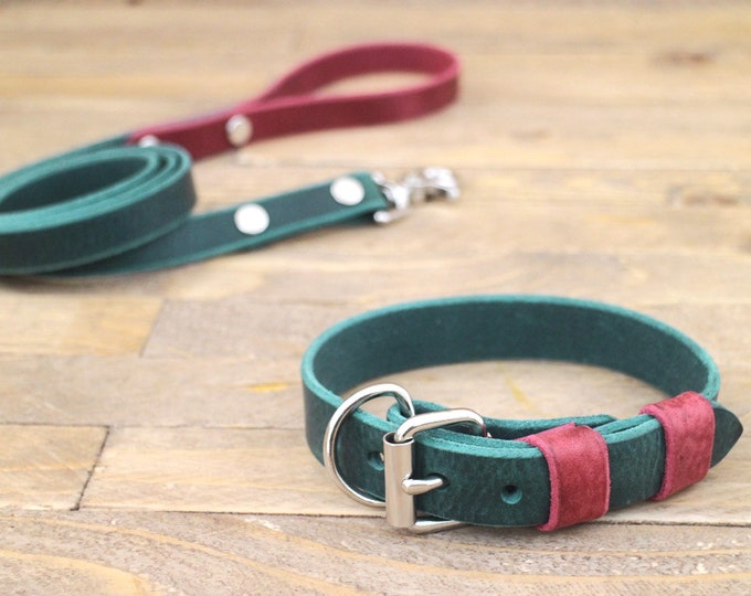 Free personalisation, Sale 15%, Collar and leash set, Forest, Burgundy, Leather leash, Silver hardware, Handmade collar and leash.