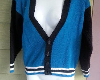 Vintage 80s Teal & Black Snug Midriff Baring Cropped V Neck Cardigan Sweater Size Small