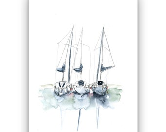 "Sketch ""Sailboats"" Savoy Lake Bourget"