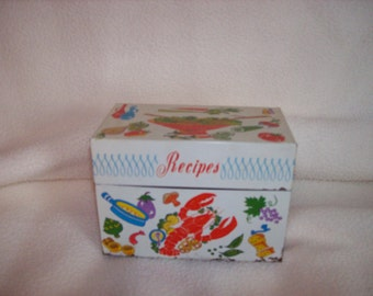 Tin Ohio Art Recipe Box from the 1950's.