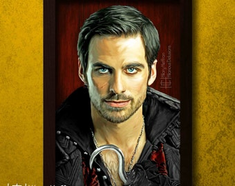 Captain Hook Digital Painting Print, Once Upon a Time