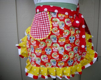 Women's Aprons - Aprons with Skull Fabrics - Tattoo Aprons - Calaveras Aprons - Red Skull Aprons - Aprons with Skulls - Annie's Attic Aprons