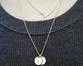 Personalized Gift, Initial Coin Necklace, Small Disk Friendship BFF Necklace, Girl Power, Soul Sister, Going Away Gift, Gift for Her