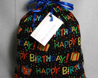 Cloth Gift Bags Fabric Gift Bags Happy Birthday Medium Size Handmade Reusable Eco-Friendly