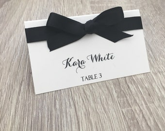 10 place cards, elegant place cards, tented place cards, classy place cards, ribbon place cards, name place cards, place cards with bow