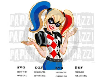 Harley Quinn SVG DXF for Cricut Design Space - Silhouette Studio