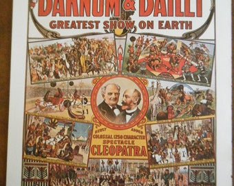 Vintage Circus Poster - Barnum & Bailey Grestest Show on Earth Vintage Poster Size Book Plate