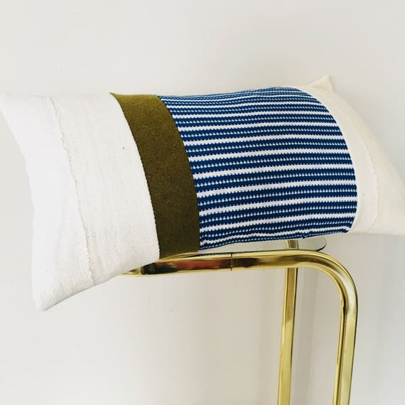 "Vintage Blue White Striped Pillow Cover 14""x24"" Lumbar Cushion Cover White Mudcloth Military Green Wool"
